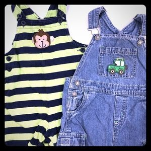 (2) Pairs Overalls Shorts Carter's Size 24 Months